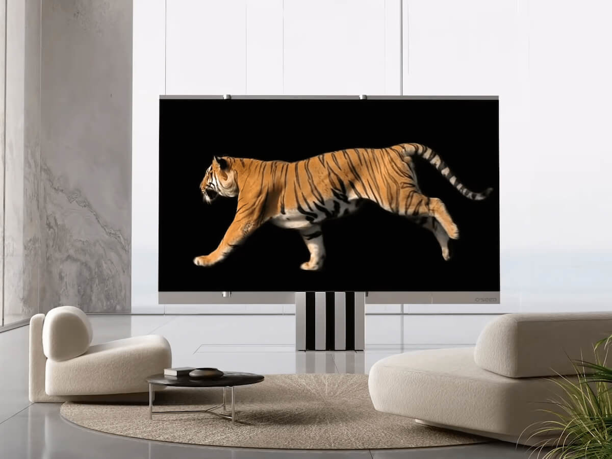 C SEED M1 indoor unfolding TV expands like an envelope to reveal a 165-inch display