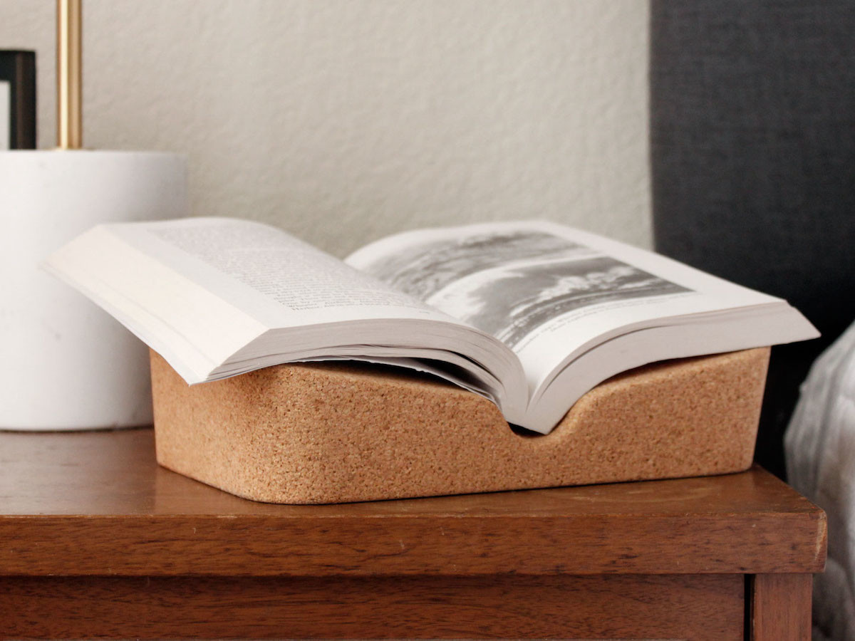 Cork Booklift book riser improves your reading and cooking experience