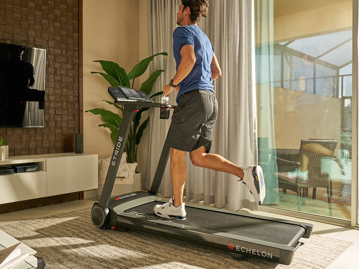 Echelon Stride auto-fold connected treadmill measures just 10 inches deep when folded
