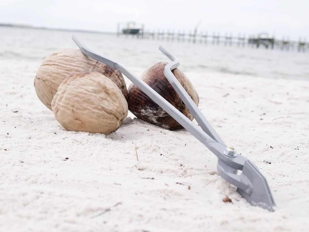 The Original Husk Buster coconut de-husking tool is a great alternative to using a machete