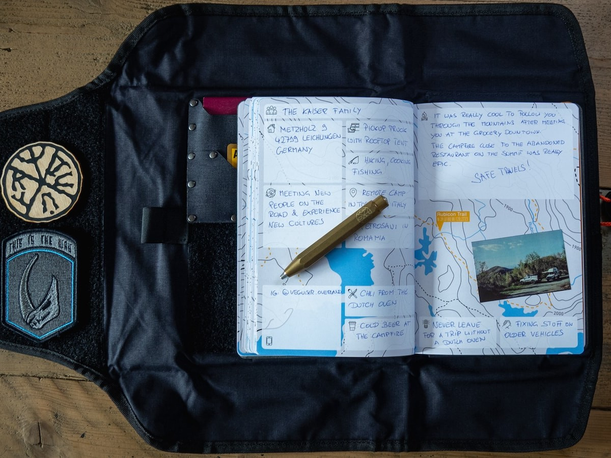 KYNNI Book and Tool Roll Folio travel journal kit memorializes friendships from adventures