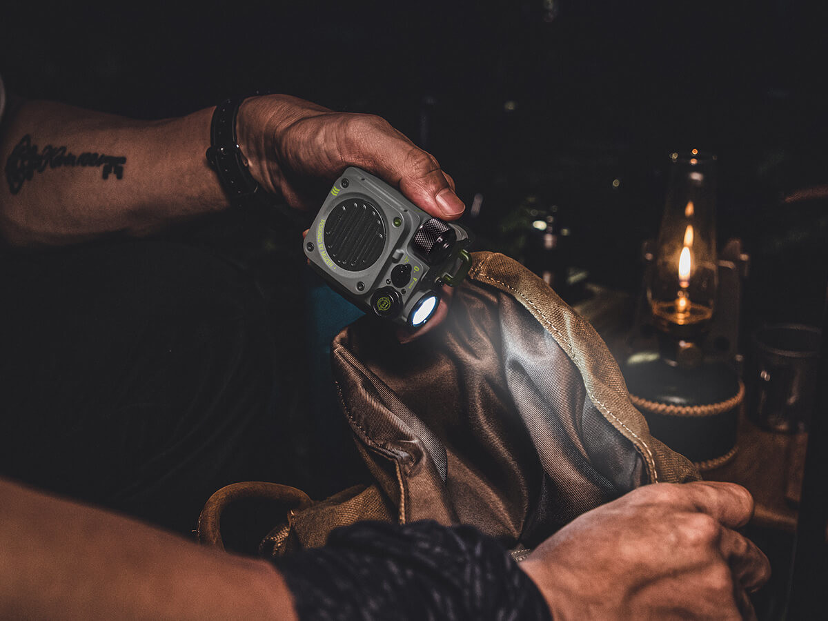 Muzen Wild Mini Rugged Outdoor Speaker boasts a flashlight and big, crisp sound anywhere