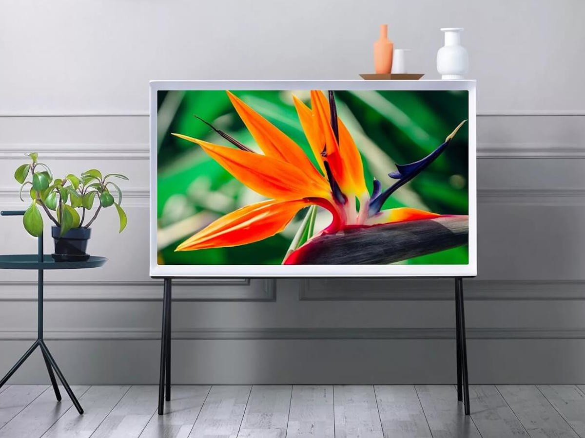 Samsung The Serif 2021 QLED Smart TV features a detachable easel stand for movability