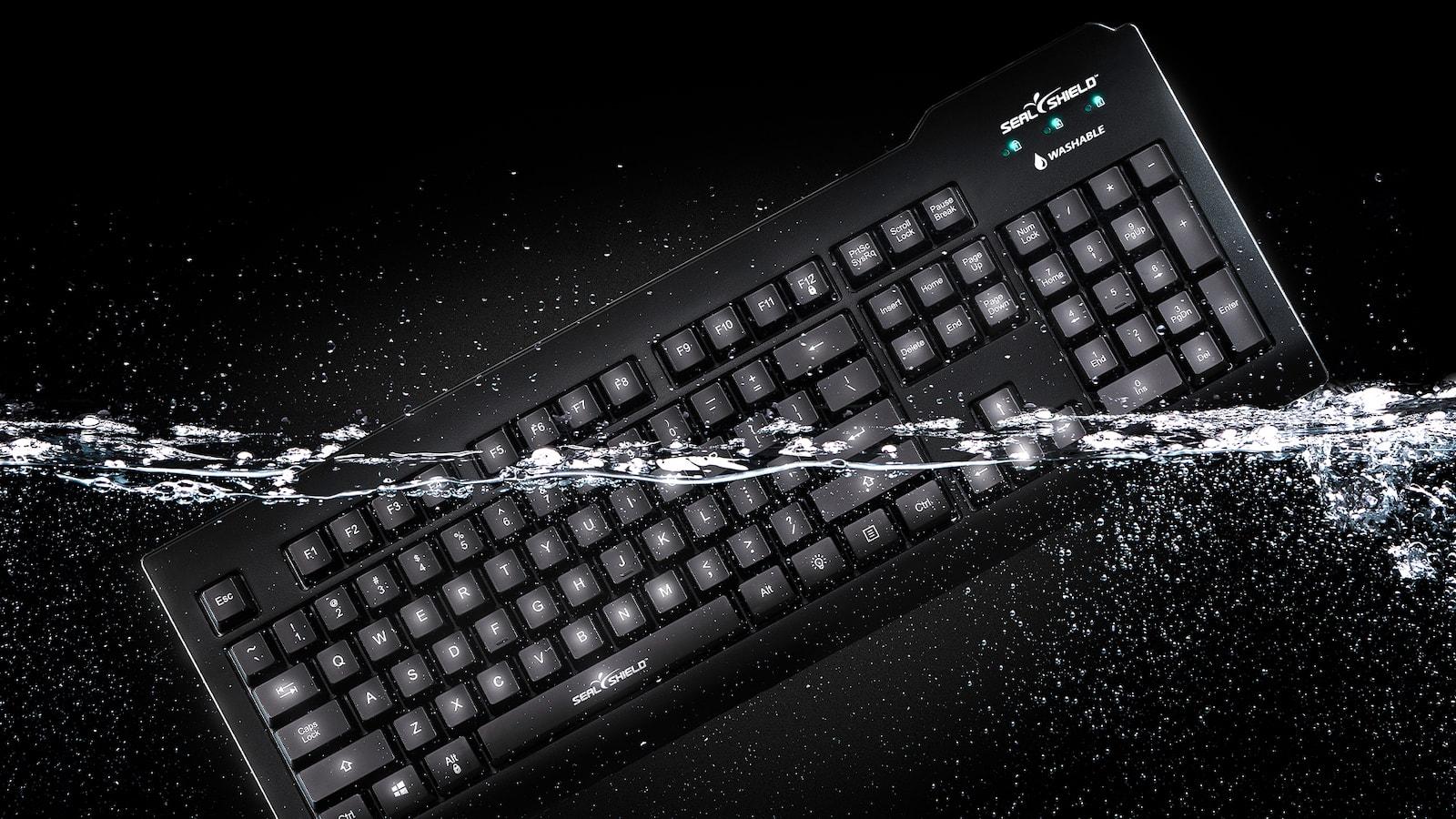 Seal Shield Silver Seal Glow Waterproof Keyboard offers a full-size True Type setup