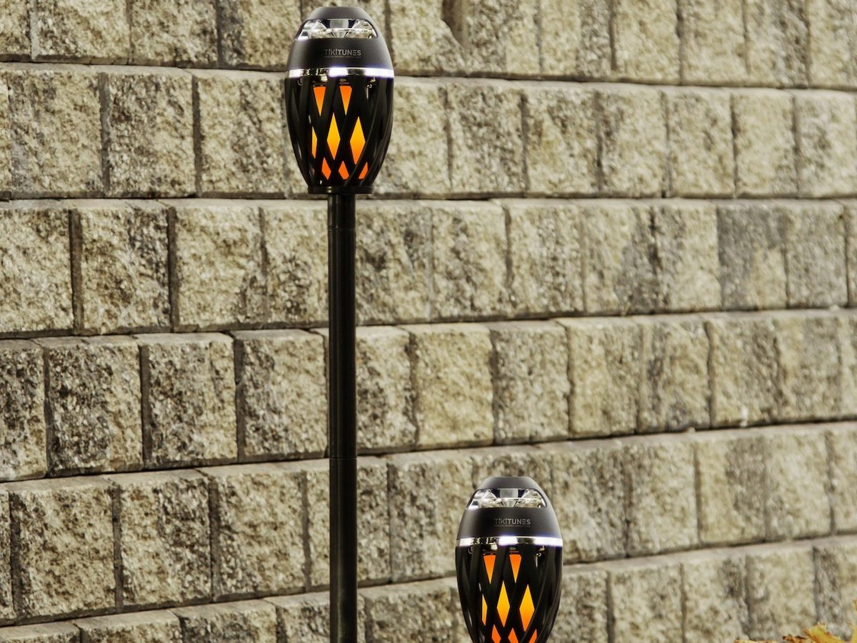 TikiTunes LED outdoor Bluetooth speaker produces an ambient flame