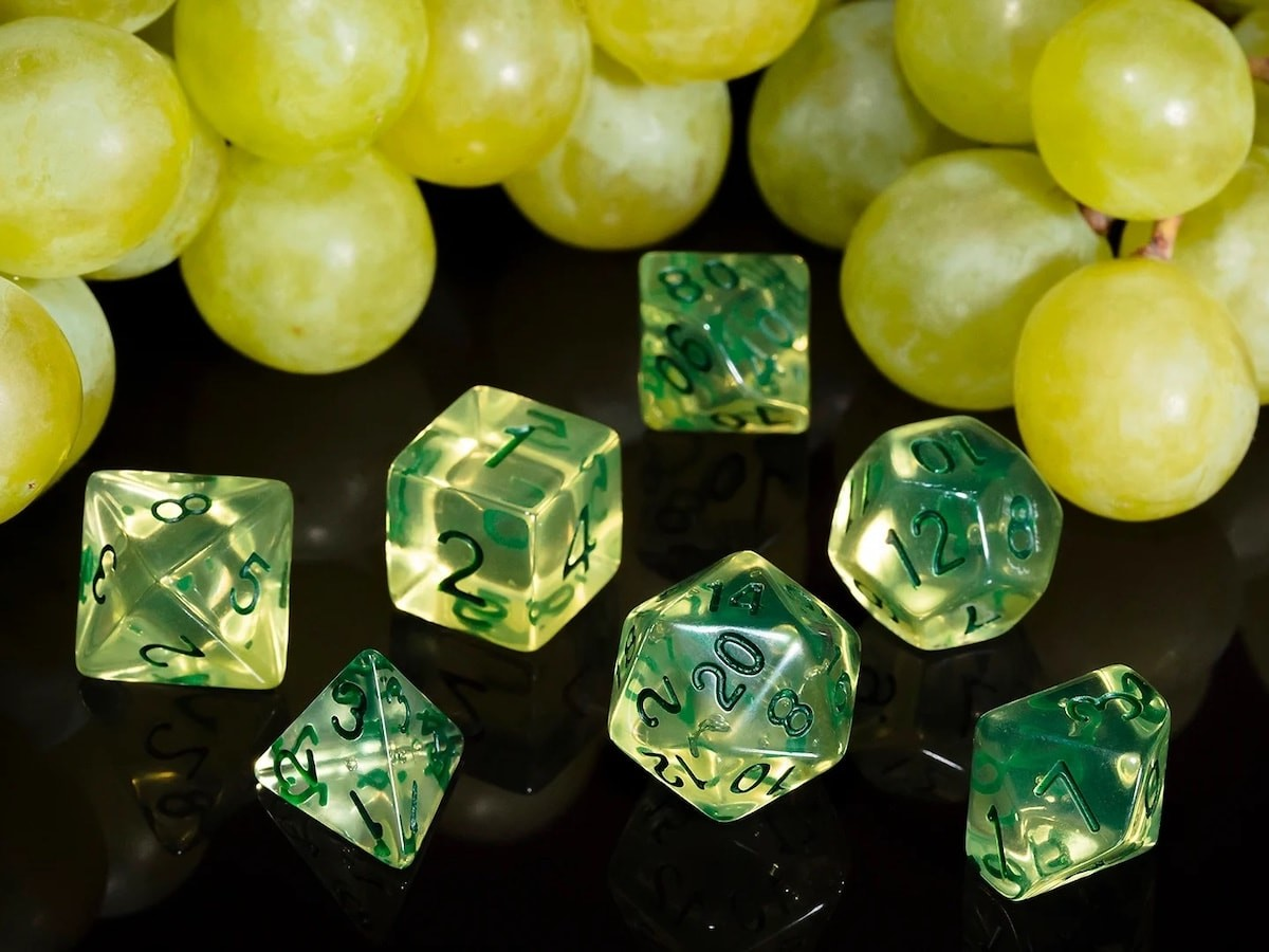 Wine Dice polyhedral dice draw their inspiration from drinks