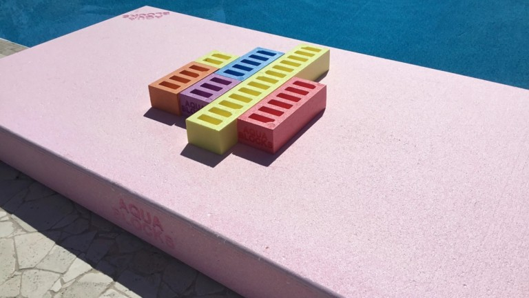Aqua Blocks pool toy is a floating platform and block combination set