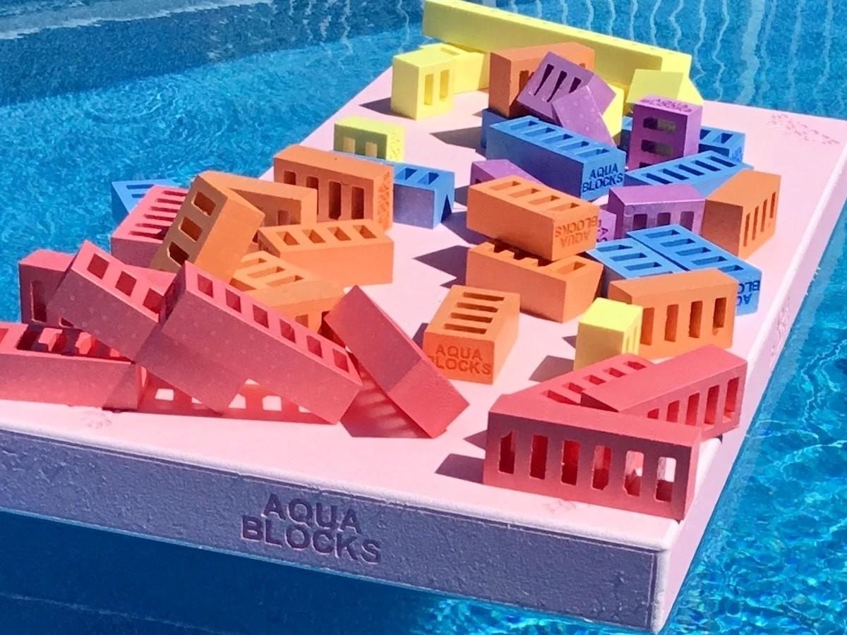 Aqua Blocks pool toy is a floating platform and block combination set