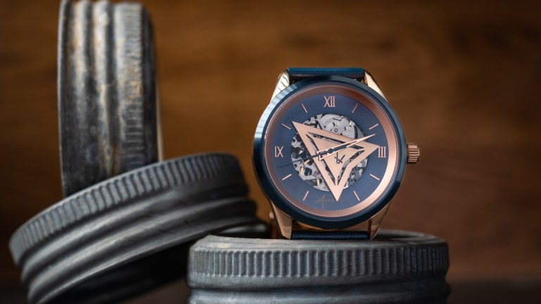 Arévalo Watches Triangulum rose gold timepiece has an open face that lets you see inside