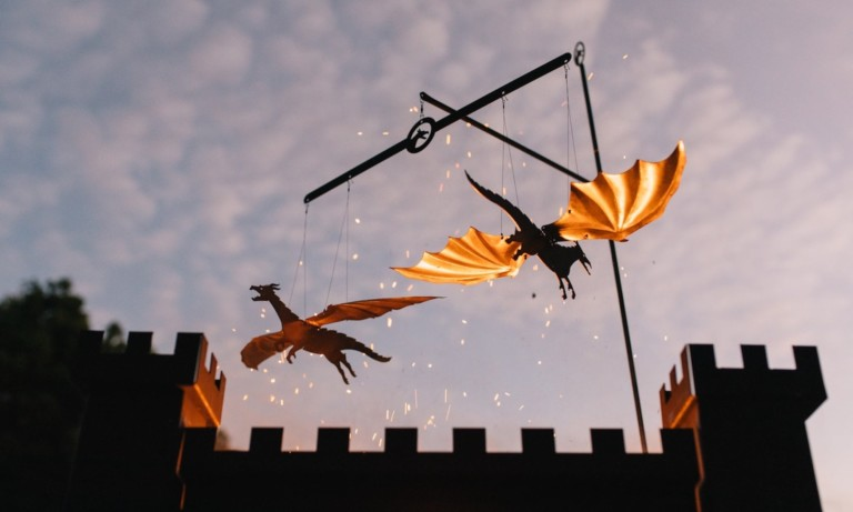 These cool fire-powered dragons actually fly around your campfire