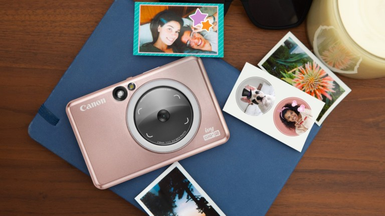 Canon IVY CLIQ+2 instant camera features a Large Selfie Mirror and 8 LED Ring Light