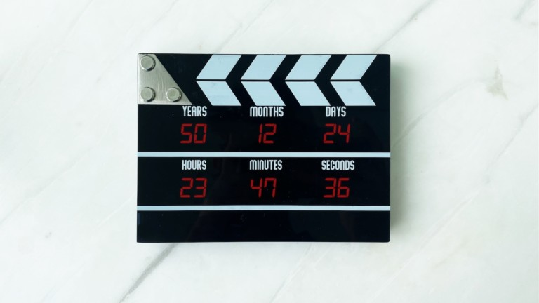 ClapperTime Hollywood clapboard clock reminds you of the importance of time