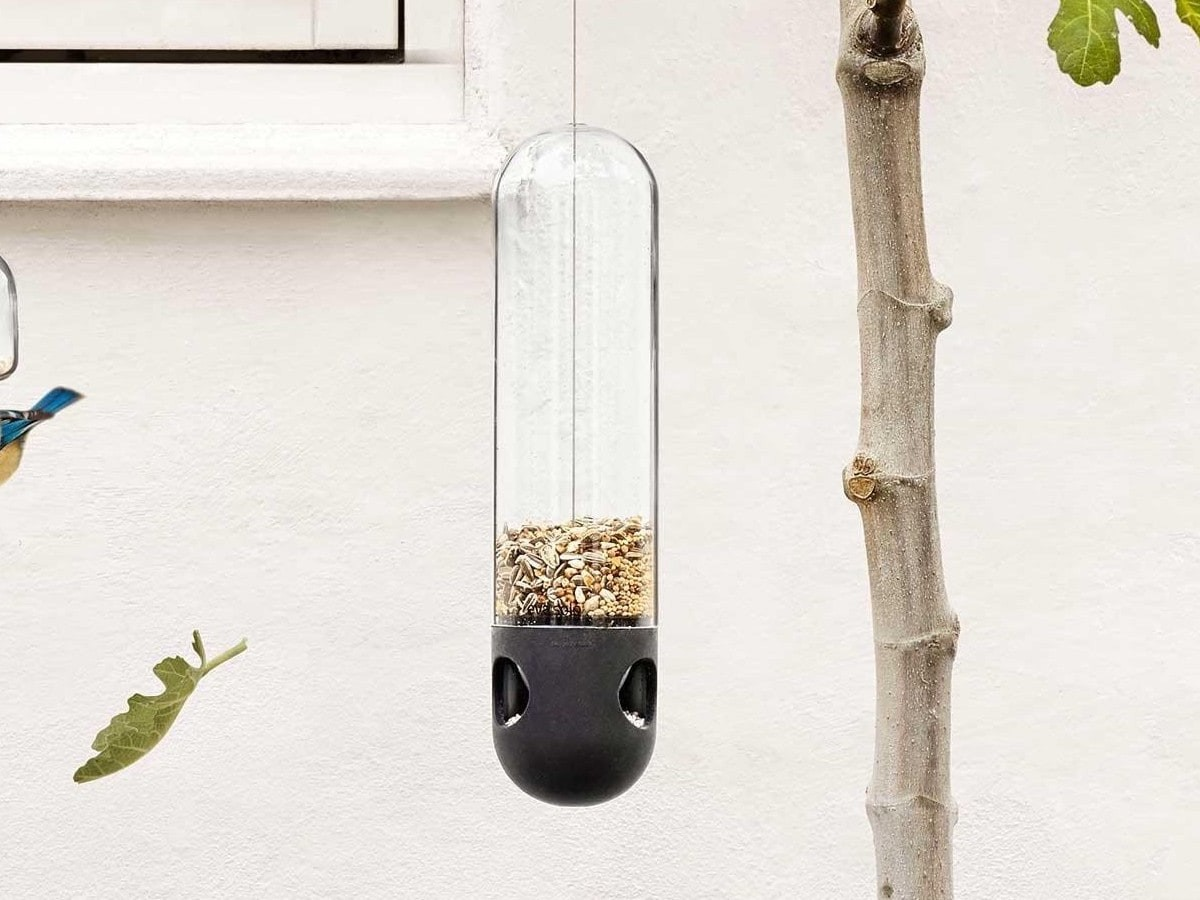Eva Solo Bird Feeder Tube accommodates small birds and uses frost-proof glass