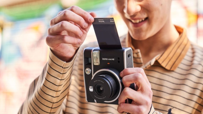 FUJIFILM instax mini 40 instant camera has a vintage look and selfie mode option