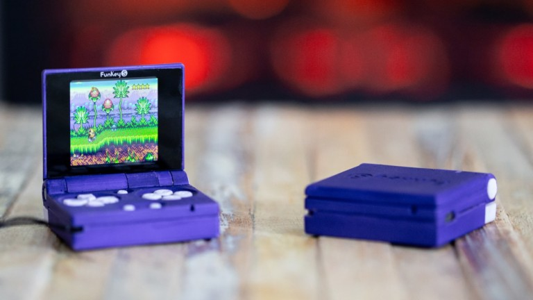 FunKey S tiny foldable Gameboy features an LCD color screen & built-in 0.5 W speaker