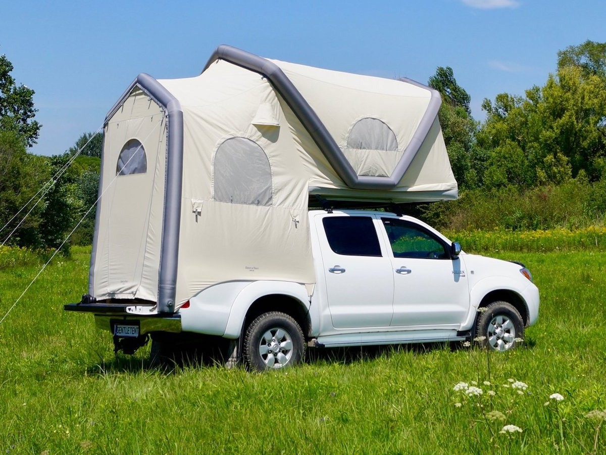 GentleTent USA GT Pickup inflatable truck tent transforms your vehicle for camping