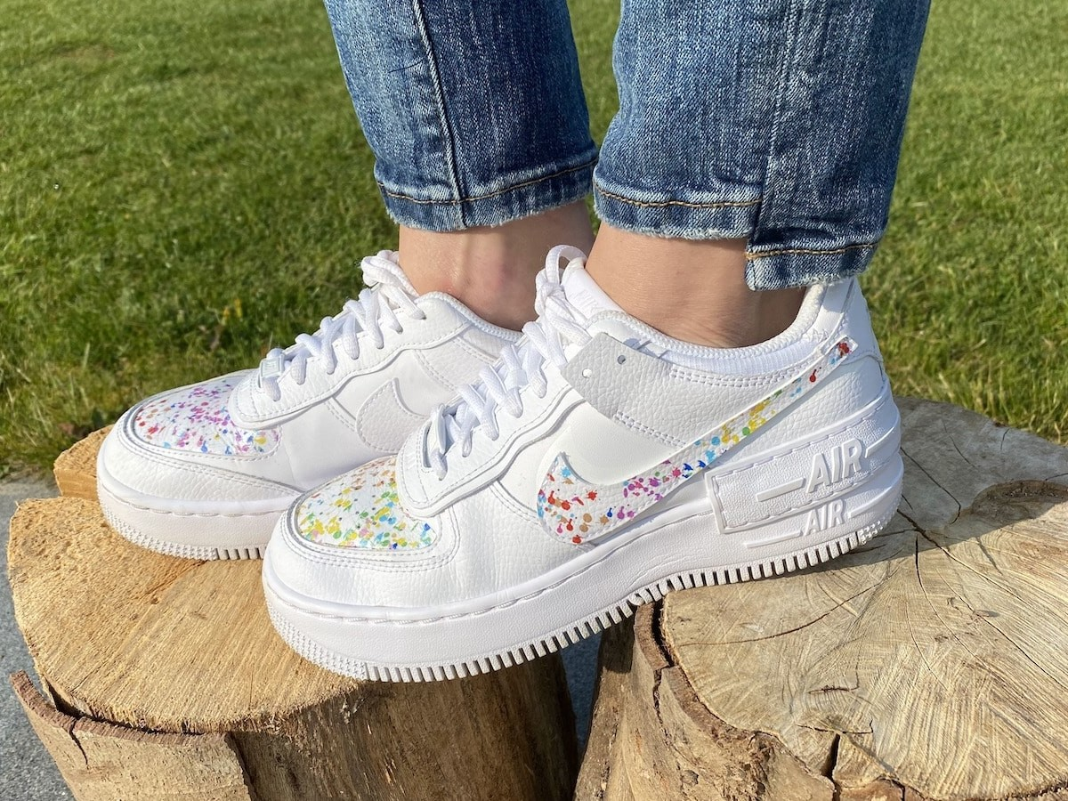 Kickoftheday water-based art transfers create a unique pair of sneakers