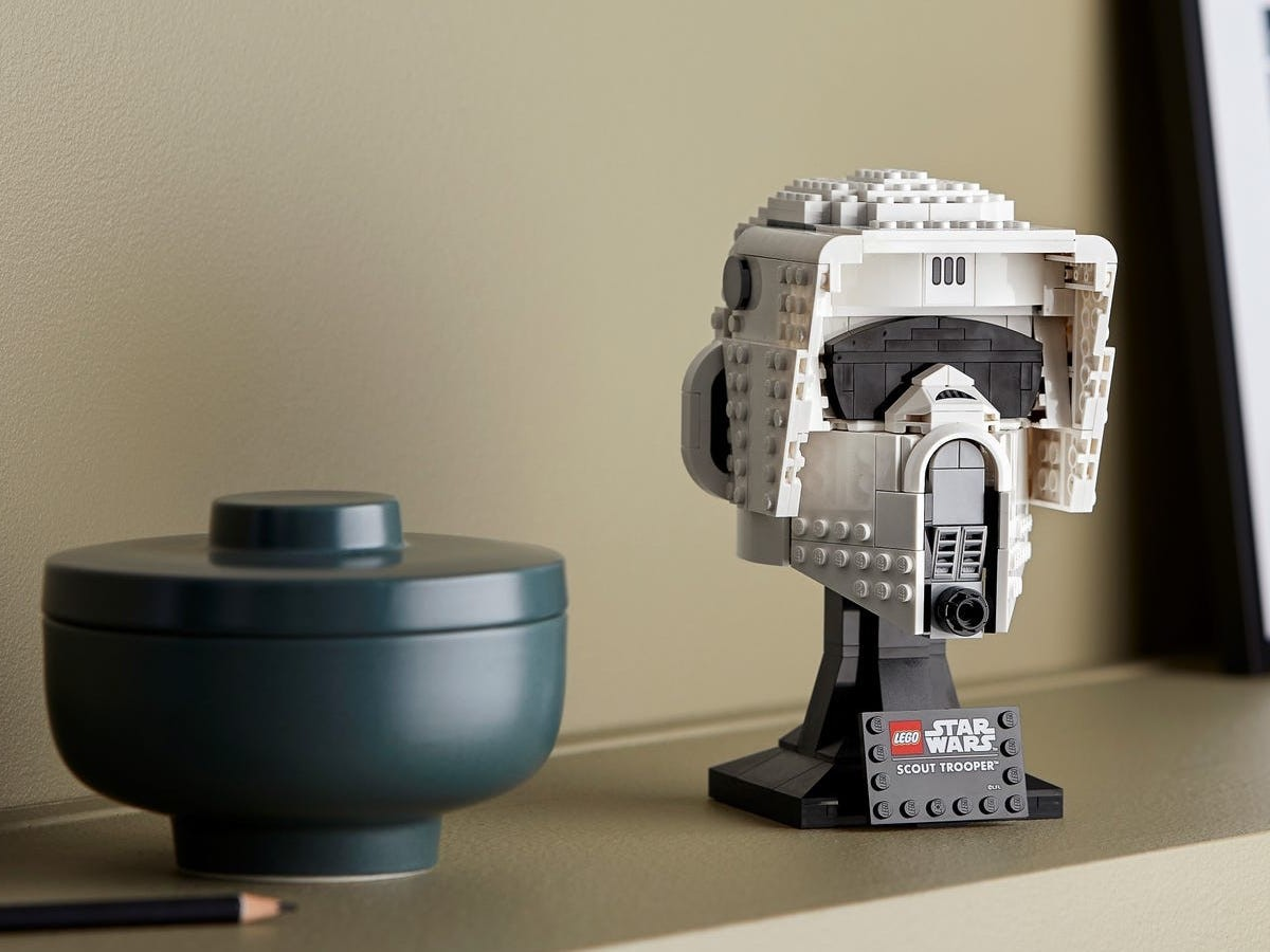LEGO Star Wars Scout Trooper Helmet building set has a stand to display on a shelf