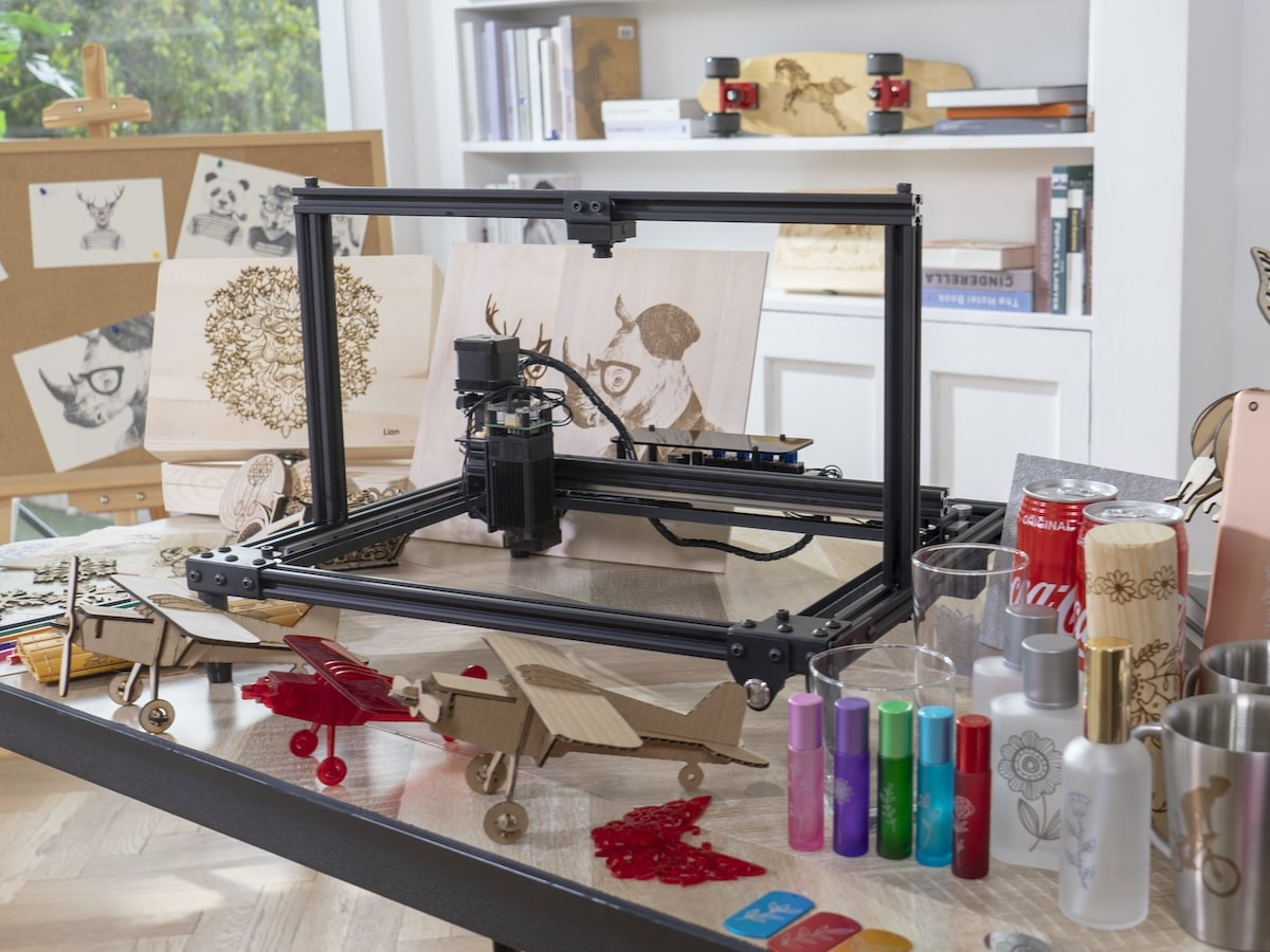 LaserPro high-power laser engraver creates intricate engravings on almost any material