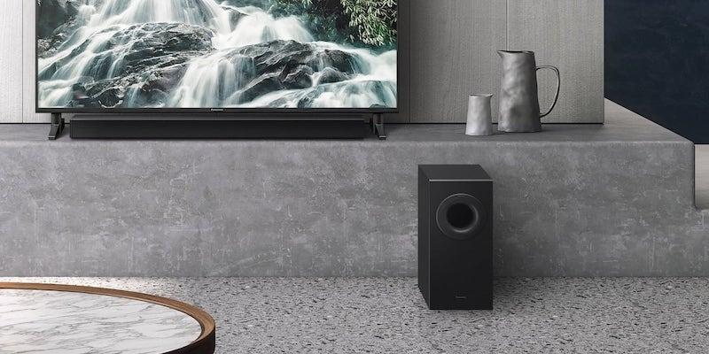 Best home theater gadgets for your living room Panasonic SC-HTB490 Slim Soundbar and Wireless Subwoofer