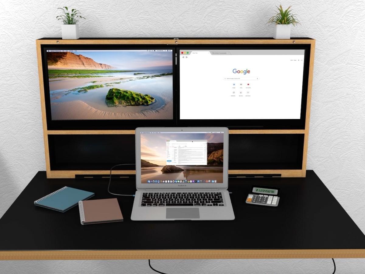 Pith & Stem DropTop wall-mounted foldable workstation stows away behind artwork