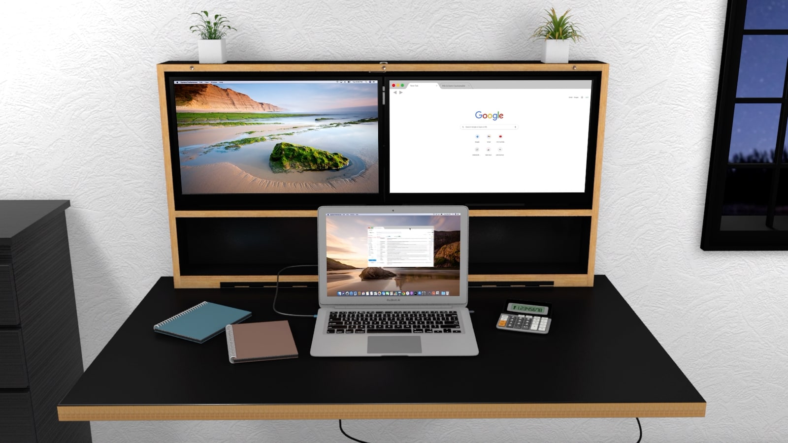 Pith & Stem DropTop wall-mounted foldable workstation stows away behind artwork