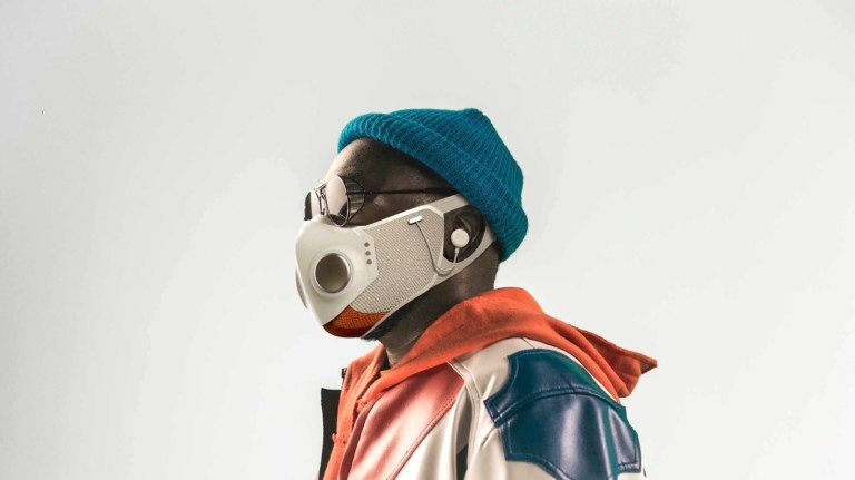 XUPERMASK high-tech face mask includes Bluetooth earbuds, LED lights, & 3-speed fans