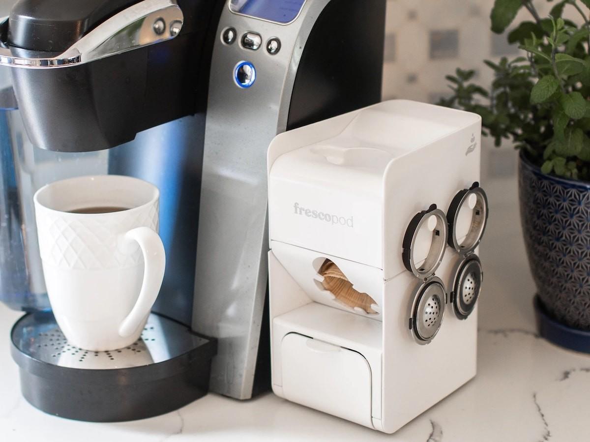 frescopod eco-friendly coffee pod maker is a biodegradable alternative to plastic pods