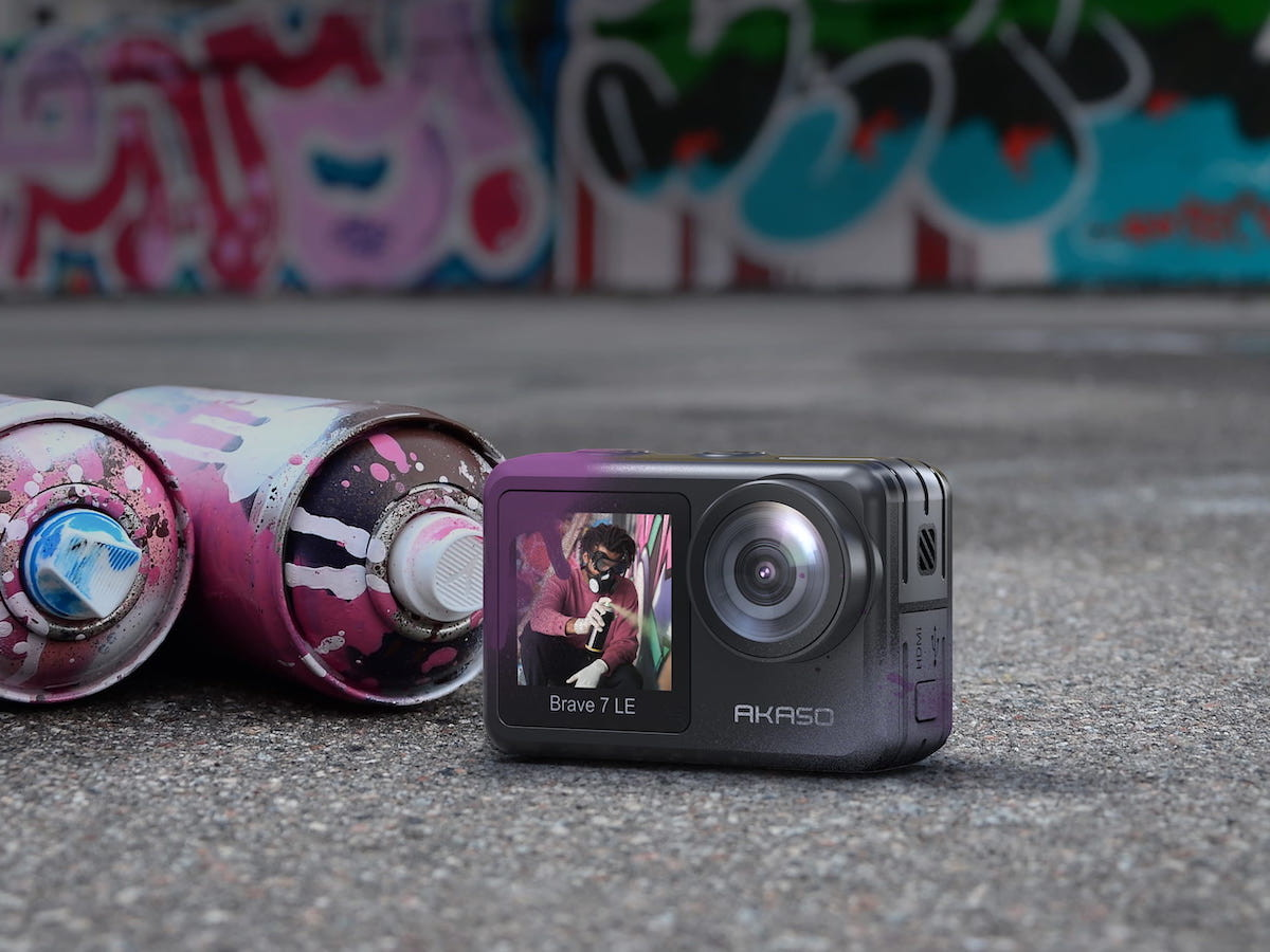 AKASO Brave 7 LE weatherproof action camera has a dual-screen design for selfies & photos