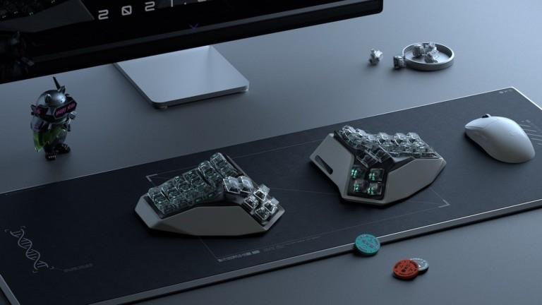 Angry Miao AM HATSU 3D split keyboard avoids flattening your wrist for ergonomic use