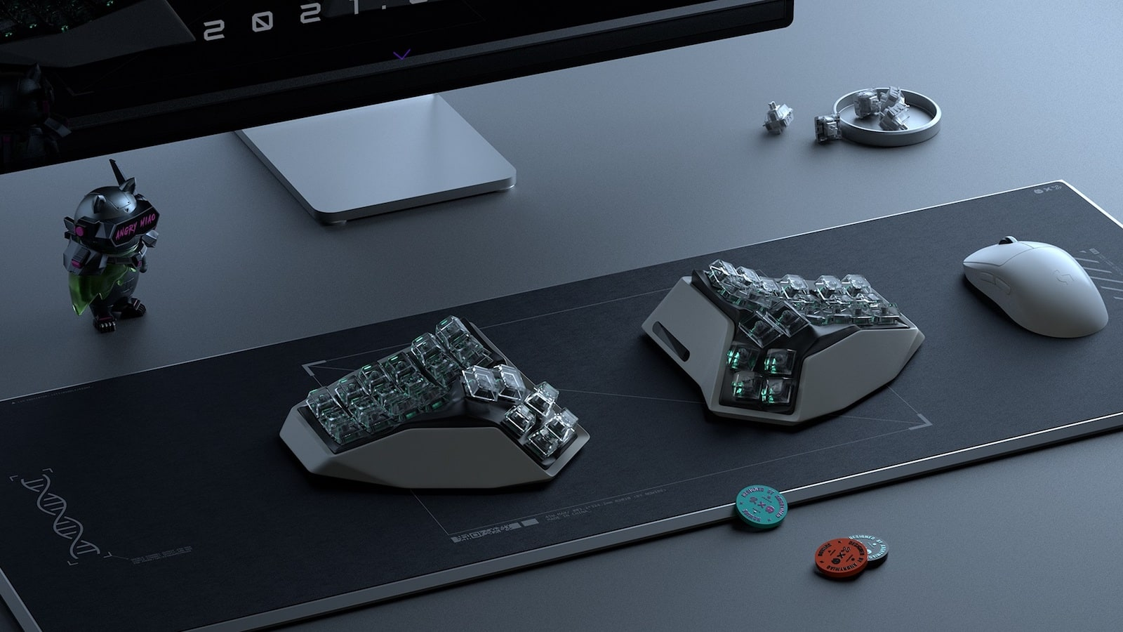 Angry Miao AM HATSU 3D split keyboard avoids flattening your wrist for ergonomic use