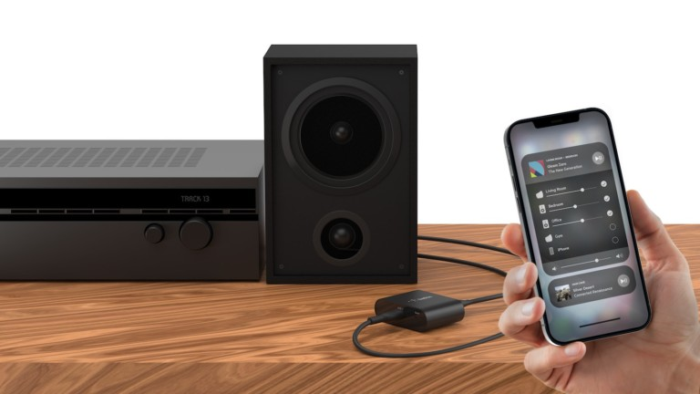 Belkin SOUNDFORM CONNECT Audio Adapter with AirPlay 2 streams music from Apple devices