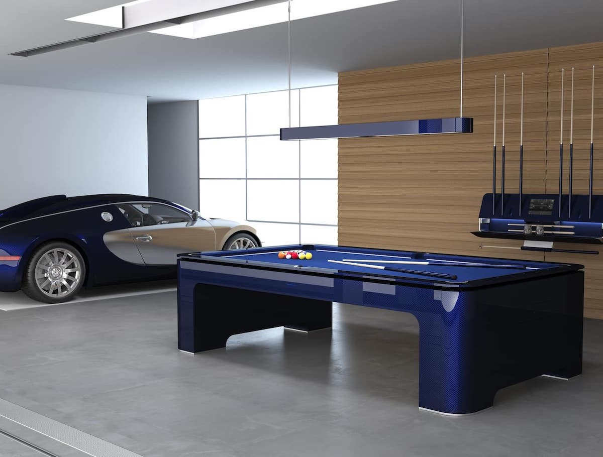 Bugatti Carbon Fiber Pool Table includes a gyroscopic sensor for leveling the table