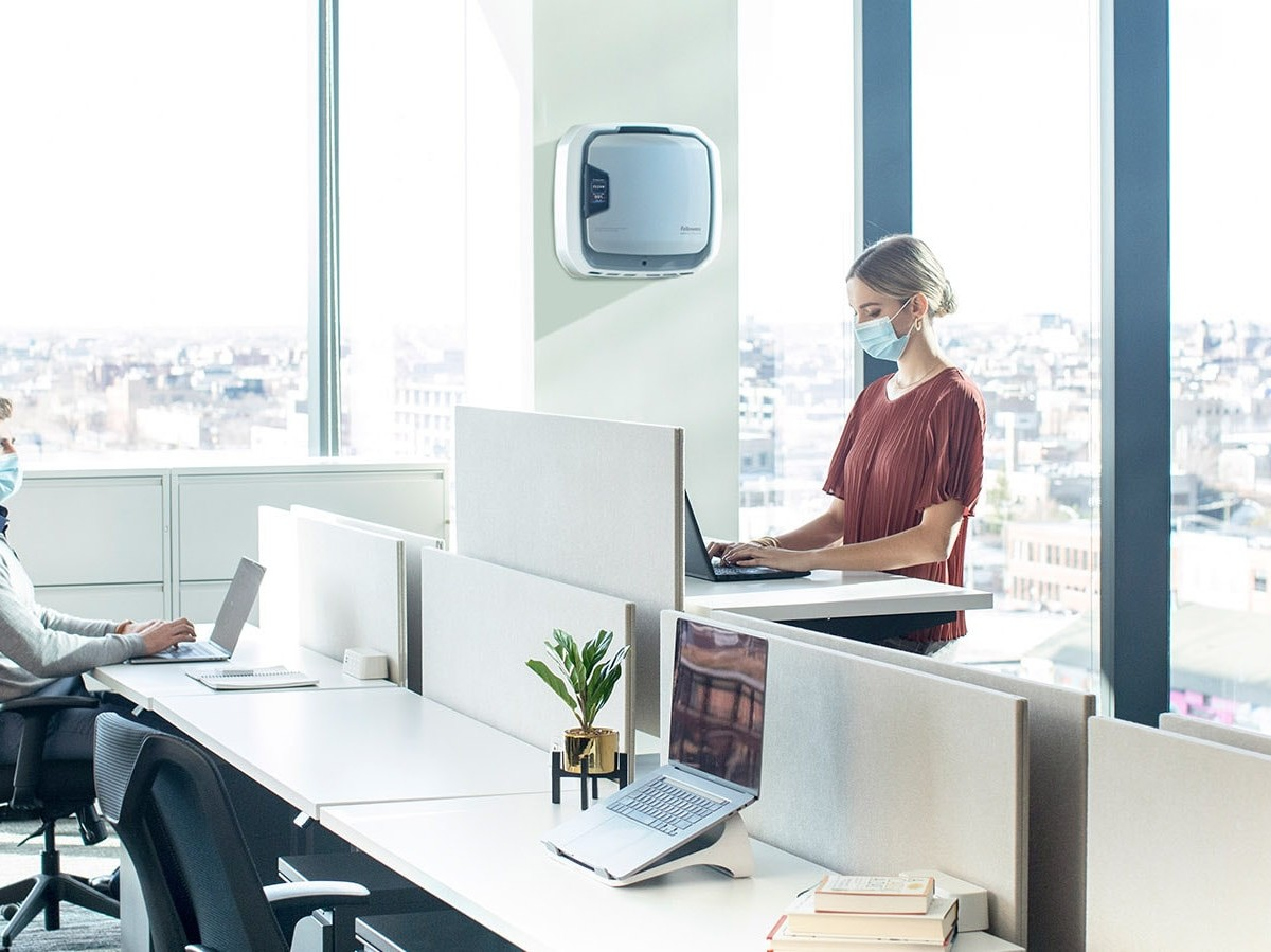 Fellowes AeraMax Pro air purifier collection has a four-stage air filtration system