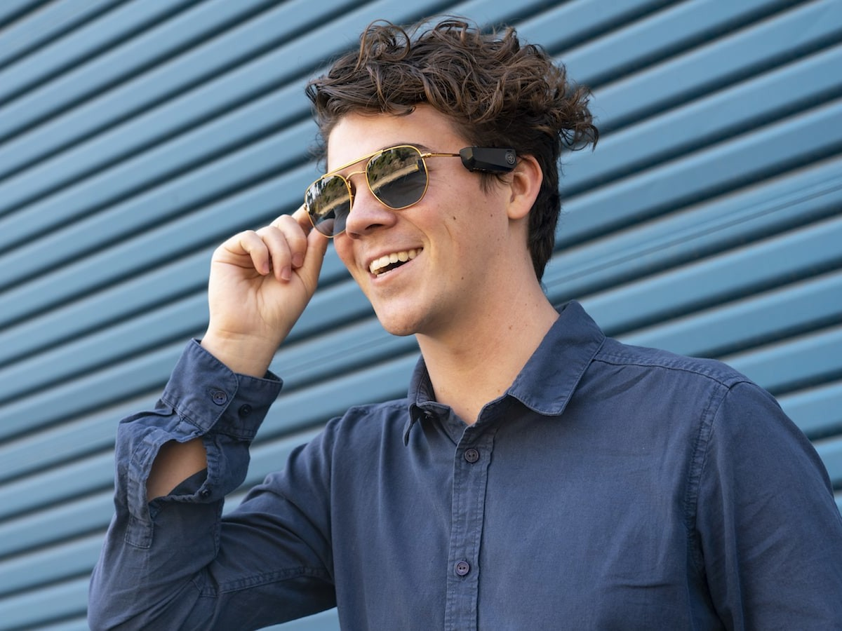 JLab JBuds Open-Ear Audio Frames fit to glasses for sound on the go