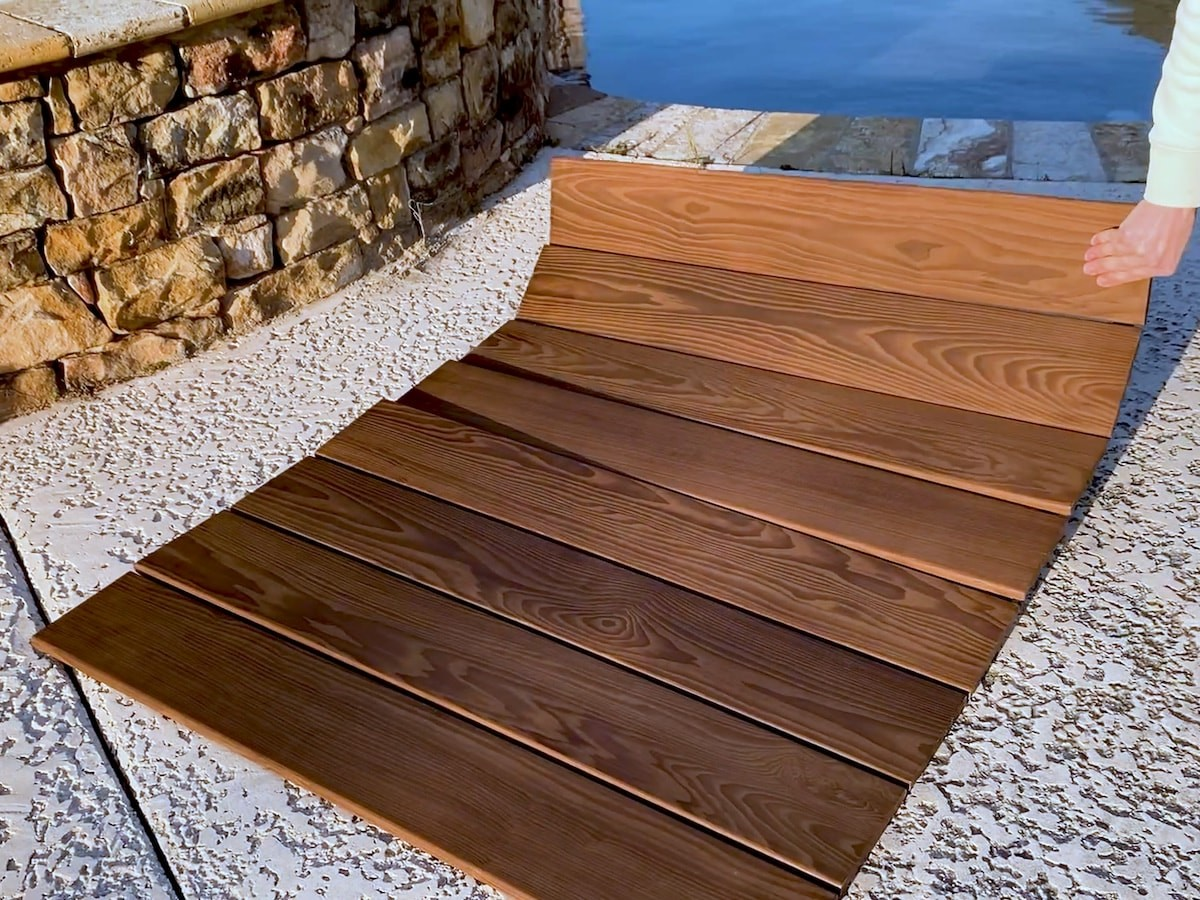Roll Floor wood floor mat is thermally modified to withstand decades of wear and tear
