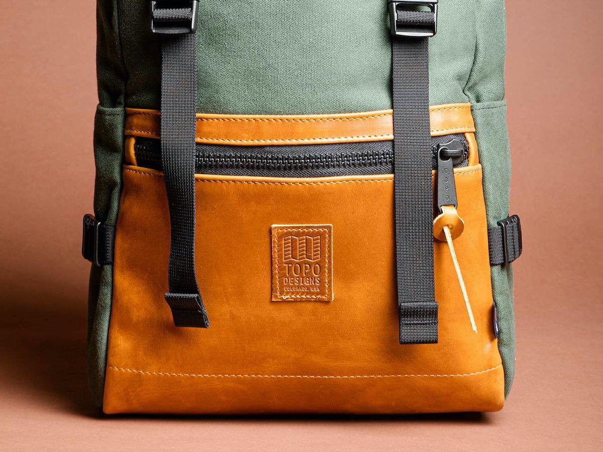 Topo Designs Rover Pack Heritage Canvas mountain backpack features a water-resistant upper