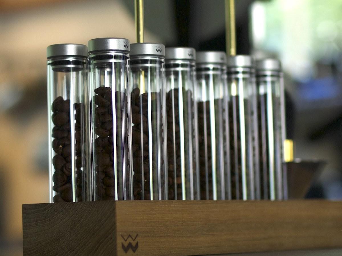 Weber Workshops Bean Cellar Glass coffee bean storage holds portioned beans for freshness