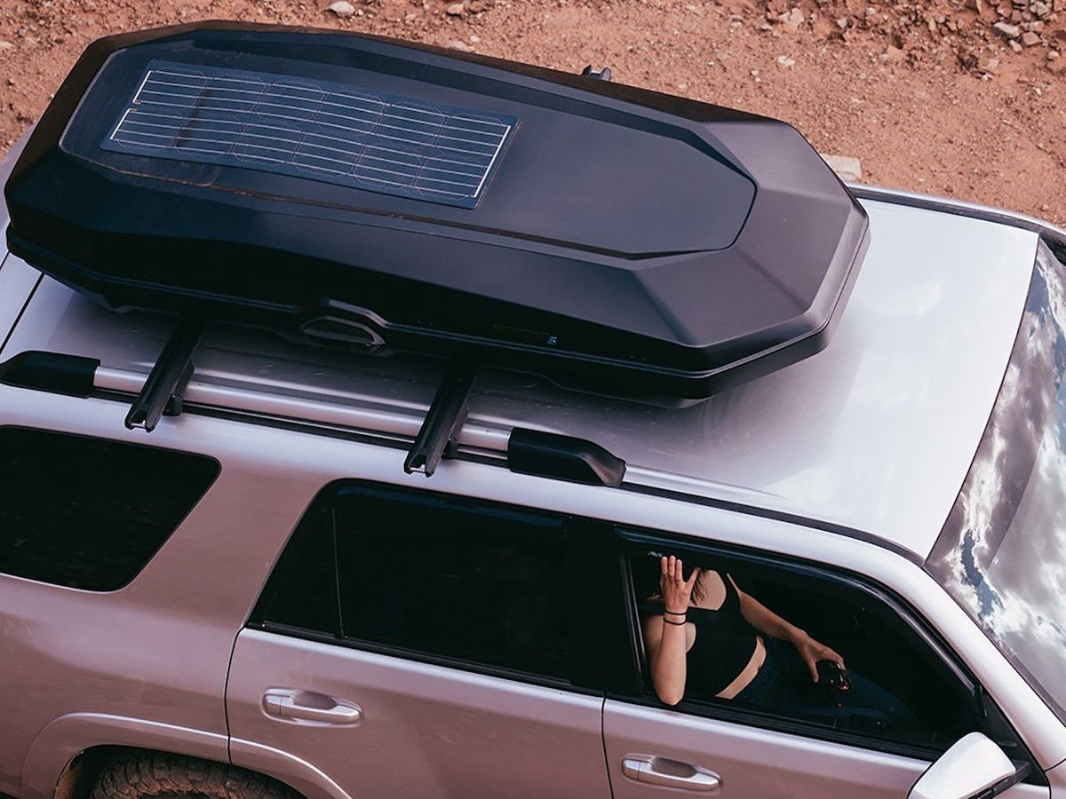 Yakima CBX Solar 16 Roof Box charges your electronics with its integrated solar panel