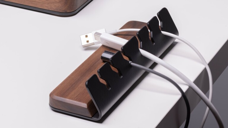 Batelier Handicraft Wood Cable Organizer has a handmade walnut base and holds 6 cords