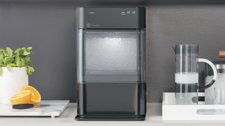 GE Profile Opal 2.0 nugget ice maker produces delicious, chewable ice in just 20 minutes