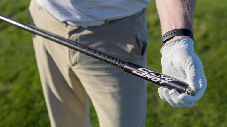 GolfPal Sling Shot PRO swing trainer provides audible, visible, and kinesthetic feedback