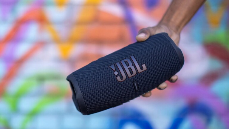 JBL Charge 5 waterproof speaker features JBL Pro Sound and a 20-hour battery life