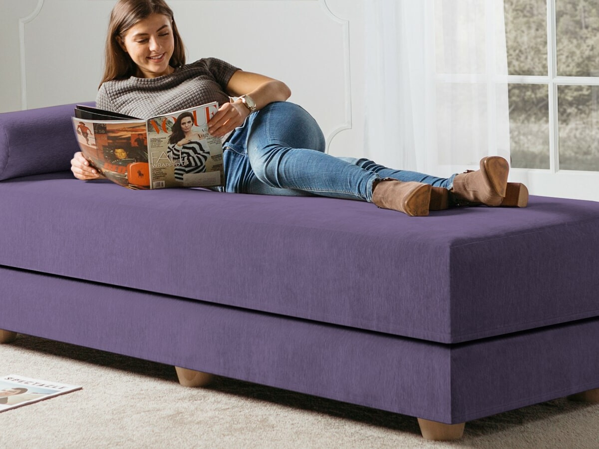 Jaxx Alon Daybed convertible sofa gives you a full queen bed when you lay it flat