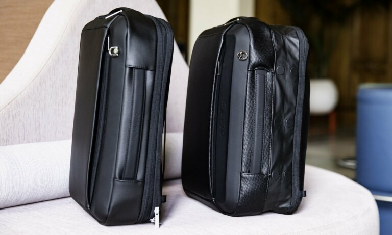 This fingerprint-locked trunk and expandable backpack makes travel easier and more secure
