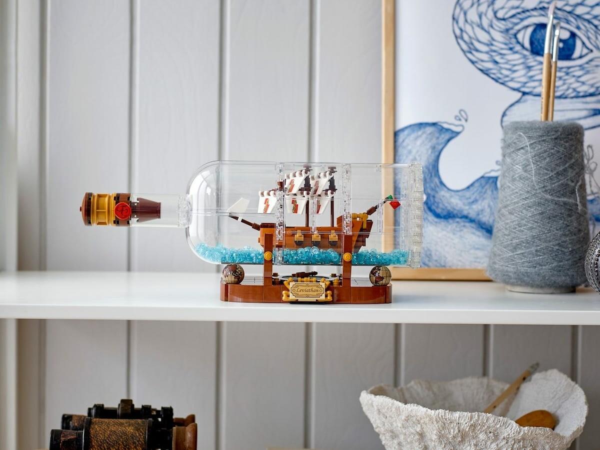 LEGO Ideas Ship in a Bottle nautical building kit has its own brick-built bottle thumbnail