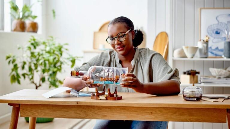 LEGO Ideas Ship in a Bottle nautical building kit has its own brick-built bottle