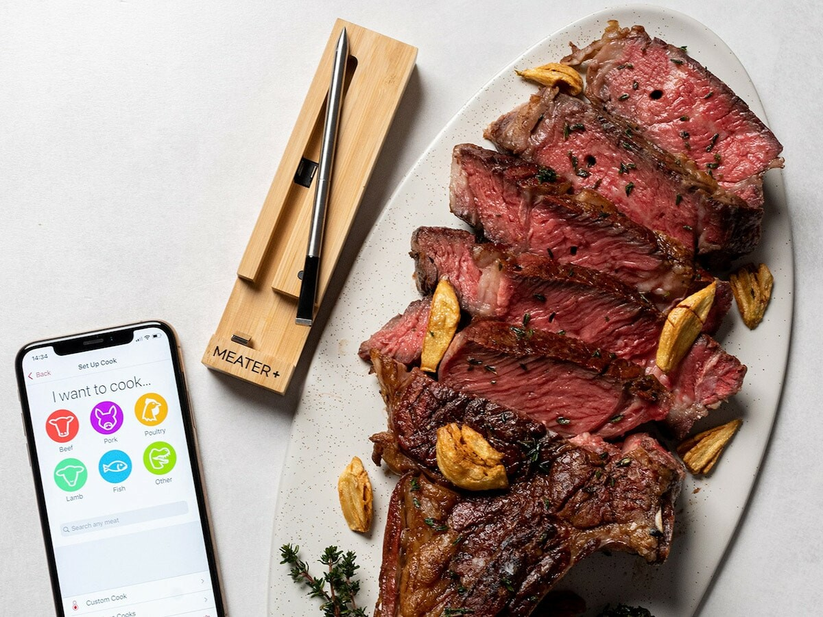 MEATER Plus wireless smart meat thermometer has a long-range 165′ Bluetooth connection thumbnail