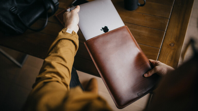 Mission Leather Co Leather Vertical MacBook Sleeve offers long-lasting protection