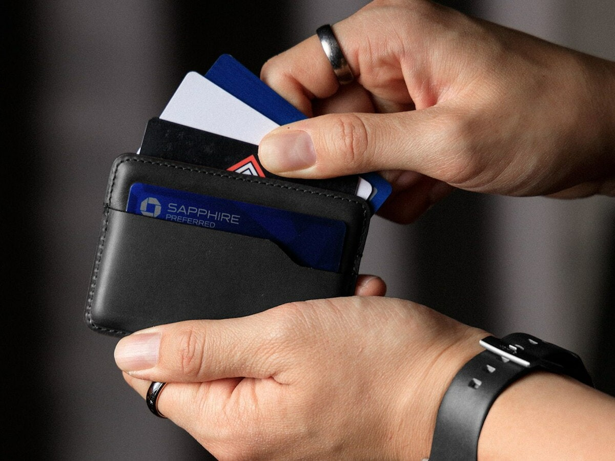 Nomad Card Wallet has thermoformed leather that creates space for cards without stretching
